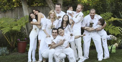 Modern Family: ABC's comedy follows one very large, very unconventional family, played by Sarah Hyland, back left, Sofia Vergara, Julie Bowen, Eric Stonestreet, Ariel Winter, Jesse Tyler Ferguson, Ed O'Neill, Nolan Gould, and Ty Burrell, front left, and Rico Rodriguez.