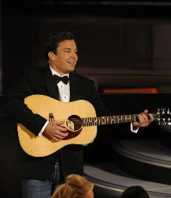 Emmys host Jimmy Fallon kept singing all night, interacting with the audience. But that was better than his Twitter bit.