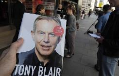 Prime Minister Tony Blair's newly published book is seen outside a bookshop in central London on Wednesday.