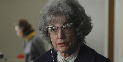 After: Randee Heller in character as Don Draper's secretary Miss Blankenship on Mad Men.