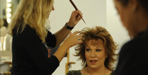 Getting ready for the start of the 14th season, co-host Joy Behar has her hair done by stylist Rosa Amoedo and makeup by artist Rebecca Borman.