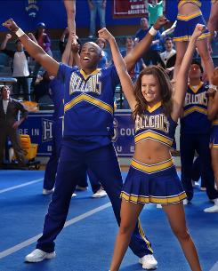 Team spirit to spare: Lewis (Robbie Jones) is one of the cheerleaders on the squad led by Savannah (Ashley Tisdale) at Lancer University in CW's new series Hellcats.