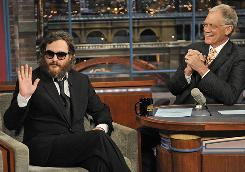 Joaquin Phoenix during his infamous, inscrutable February 2009 visit to The Late Show With David Letterman.