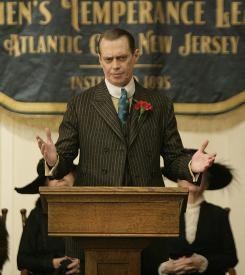 Pulling the strings: Steve Buscemi plays Nucky Thompson, the immoral man who holds the power in 1920s Atlantic City.