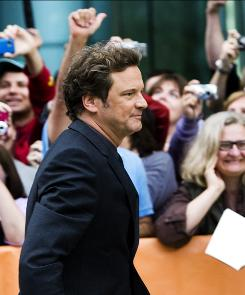 All hail the king: Colin Firth on the red carpet for the Toronto premiere of The King's Speech, which could earn him a best-actor Oscar nomination.