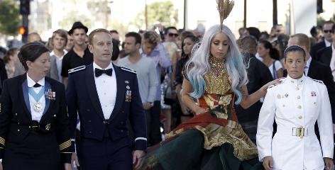 Lady Gaga brought gays who'd been kicked out of the military because of the 'Don't ask, don't tell' policy as her guests at the MTV Awards.
