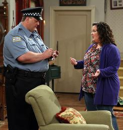 Big love: Billy Gardell, in a stand-up performance, and Melissa McCarthy are plus-sized people who meet and fall in love on CBS' new sitcom Mike & Molly.
