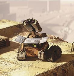 Left to clean up the mess: A lone trash-compacting robot lives in a deserted world in WALL-E, a film that explores this dystopia with a sense of humor.