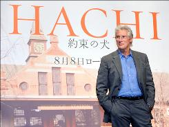 Richard Gere promotes Hachi during a press conference in Tokyo last summer. Unfortunately for him, the film never received theatrical release in the USA.