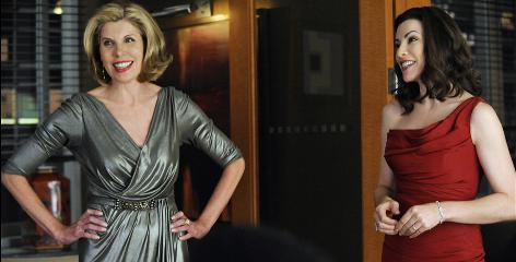 Dressed to impress: Christine Baranski, left, and Julianna Margulies are all dolled up for a scene, Margulies in a Roland Nivelais gown and Baranski in Rickie Freeman for Teri Jon.