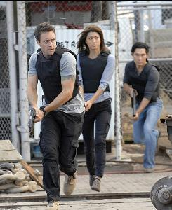 Alex O'Loughlin, left, Grace Park and Daniel Dae Kim in Hawaii Five-0, the No. 1 new series.