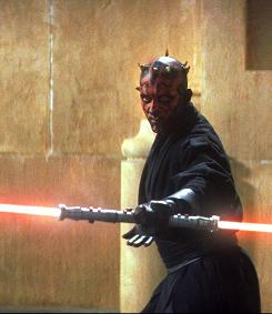 The dark Force is with him Darth Maul (portrayed by Ray Park), who fights Jedi knights in the 1999 prequel Phantom Menace.
