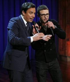 "In this photo released by NBC, host Jimmy Fallon, left, performs with singer Justin Timberlake during ""Late Night with Jimmy Fallon,"" Sept. 29, 2010, in New York."