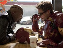 Samuel L. Jackson, left, and Robert Downey Jr. star in Iron Man 2, the sequel to the 2008 hit.