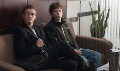 The Social Network, starring Justin Timberlake, left, and Jesse Eisenberg, was No. 1 at the box office this weekend.