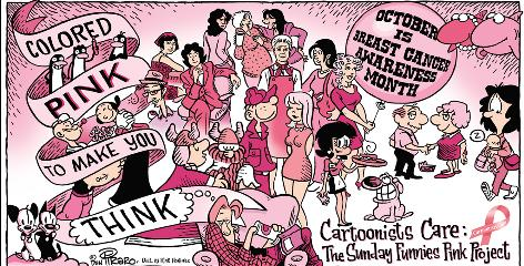 Blondie, Hagar the Horrible and Popeye are among the comic characters looking a little pink.
