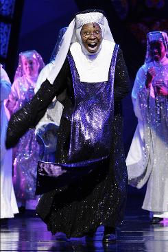 Whoopi Goldberg performs during a dress rehearsal as she joins the cast of Sister Act during its London run in August. The show is headed to Broadway next spring.