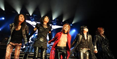 X marks the spot: Pata, left, Heath, Yoshiki, Toshi and Sugizo are the one-name wonders of glam rockers X Japan.