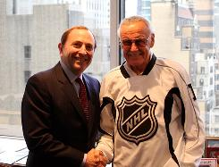 National Hockey League commissioner Gary Bettman, left, and comic-book icon Stan Lee are teaming up for a new project: 30 superheroes, each representing an NHL team.