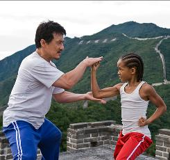 Jackie Chan plays the kung-fu mentor, and Jaden Smith is a bullied kid in the remake of the 1984 film The Karate Kid.