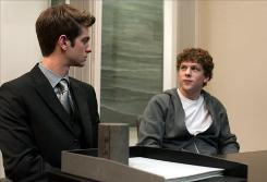 The Social Network, starring Andrew Garfield, left, and Jesse Eisenberg, was No. 1 at the box office for the second consecutive weekend.