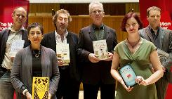 The six authors shortlisted for the Man Booker 2010 literary prize: Damon Galgut, left, for In A Small Room, Andrea Levy for The Long Song, Howard Jacobsen for The Finkler Question, Peter Carey for Parrot and Oliver in America, Emma Donoghue for Room and Tom McCarthy for C. The winner will be announced in London today.
