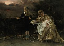 The 19th-century oil painting Mere et Ses Enfants by Belgian painter Alfred Stevens will be offered for sale at Sotheby's in New York. The painting is owned by Demi Moore and is estimated to bring a possible $200,000.