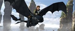 Toothless, a Night Fury, which is the rarest of all dragons, soars through the sky with Hiccup (voiced by Jay Baruchel) on his back in How to Train Your Dragon.