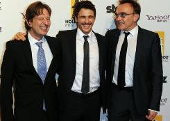 Producer Chris Colson, left, actor James Franco and director Danny Boyle arrive at the Starz Hollywood event.