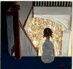 Norman Rockwell's Little Girl Looking Downstairs at a Christmas Party, 1964, oil on board. Collection of George Lucas. Licensed by Norman Rockwell Licensing. Smithsonian American Art Museum.