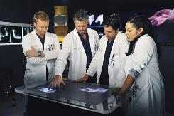 Owen (Kevin McKidd), left, Mark (Eric Dane), Derek (Patrick Dempsey) and Callie (Sara Ramirez) are the subjects of a documentary film.
