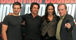 Mission Impossible stars: Jeremy Renner, left, Tom Cruise, Paula Patton and director Brad Bird attend a press conference in Dubai.