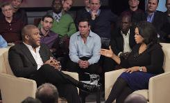 Oprah Winfrey interviews filmmaker Tyler Perry for a two-part special with 200 men speaking out on their own childhood sexual abuse.