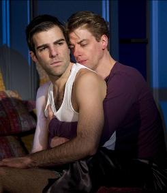 Passion and guilt: Louis (Zachary Quinto), left, abandons his lover, Prior (Christian Borle), after he finds out Prior has AIDS.