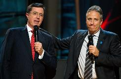 """Stephen Colbert, left, and Jon Stewart will be in Washington for """"Rally to Restore Sanity and/or Fear"""" on the National Mall on Saturday."""