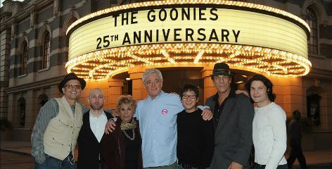 A cast reunion: Joe Pantoliano, left, Jeff Cohen, Lupe Ontiveros, director Richard Donner, Ke Huy Quan, Robert Davi and Corey Feldman.