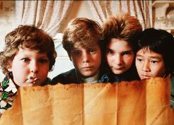 """""""Nutty little group of kids"""": Jeff Cohen, left, Sean Astin, Corey Feldman and Ke Huy Quan starred in 1985 film about a hunt for treasure."""