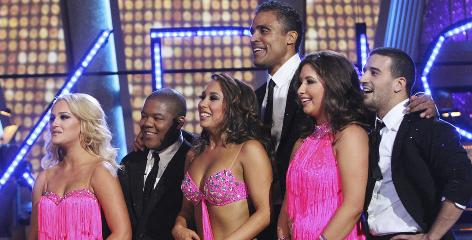 Bristol Palin and Mark Ballas (far right) await the scores for Monday's group dance, along with Lacey Schwimmer, left, Kyle Massey, Cheryl (Burke)Burkeand Rick Fox.