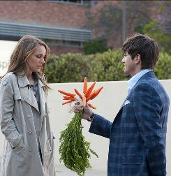 Adam (Ashton Kutcher) wears down Emma (Natalie Portman) enough so she agrees to go on a date with him. In keeping with her no-posies policy, however, he substitutes a bunch of carrots.