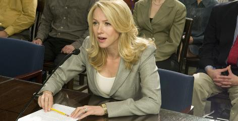"Spies like us: Fair Game director Doug Liman says Naomi Watts has ""the steely, impenetrable exterior that Valerie Plame herself has."" Watts is shown in the scene in which Plame testifies before Congress."