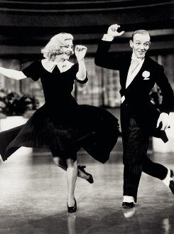 Ginger Rogers and Fred Astaire pick themselves up in 1936's Swing Time.