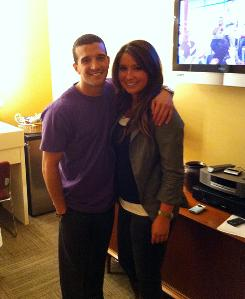 Dancing With the Stars partners Mark Ballas and Bristol Palin in the Green Room before their Ellen segment on Thursday.