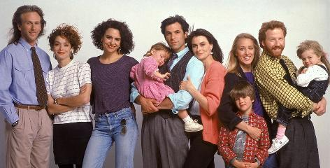 Members of the 1990 cast of ABC's thirtysomething left to right: Peter Horton, Melanie Mayron, Polly Draper, Brittany Craven, Ken Olin, Mel Harris, Luke Rossi, Patricia Wettig, Timothy Busfield, Jordan Shapiro and Grendel the dog.
