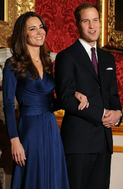 Long-awaited announcement: Britain's Prince William and Kate Middleton at St. James's Palace in London, where they confirmed their engagement Tuesday after nine years of dating.