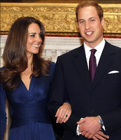 That ring, that dress, that hair! Kate Middleton with fiance Prince William.