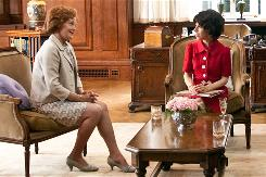  In the film Made in Dagenham, British Cabinet member Barbara Castle (Miranda Richardson) meets with Rita O'Grady (Sally Hawkins), the leader of a group of seamstresses at a Ford plant who go on strike in 1968.