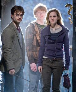 No turning back: Daniel Radcliffe, Rupert Grint and Emma Watson reach the point of no return in Harry Potter and the Deathly Hallows, Part 1.