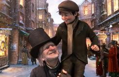 Jim Carrey and Gary Oldman provide the voices for Ebeneezer Scrooge and Tiny Tim in Disney's 3-D retelling of A Christmas Carol.