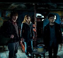 Uncommon room: Ron (Rupert Grint), left, Hermione (Emma Watson) and Harry (Daniel Radcliffe) explore a dangerous world without the protection of their school, teachers or parents in Harry Potter and the Deathly Hallows, Part 1, in theaters Friday. 