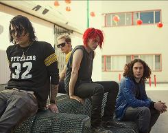 Loud and happy: Frank Iero, left, Mikey Way, Gerard Way and Ray Toro of My Chemical Romance.